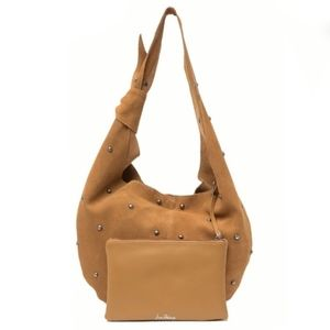 Caramel Suede Hobo Bag & Leather Pouch Duo